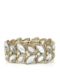 Crystal (Clear) Gold Petal Stretch Bracelet  | 290531590 | New Look