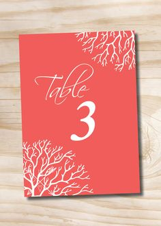 Coral Elegance Wedding Table Numbers Tropical Destination Wedding