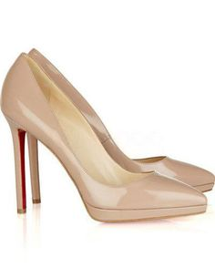 08a97e4364b Elegant Beige Patent Leather 4 1 3   High Heel Womens Fashion Pumps  Christian