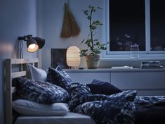 Want to create a soft, cosy atmosphere in your home? Get it with the right lighting! Try a paper lamp with a decorative and warm light bulb. STORUMAN table lamp is great as a bedside lamp. Home Decor Furniture, Home Furnishings, Small Room Bedroom, Bedroom Decor, Recycled House, Wall Spotlights, Ikea Family, Support Mural, Ikea Home