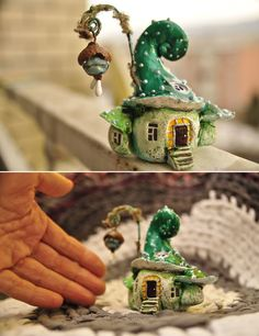 I recycled some Coke plastic bottles into a fairy house lamp. Materials used: plastic bottles, tin foil, paint, hot glue and paper clay. Clay Fairy House, Fairy Garden Houses, Fairy Gardening, Fairies Garden, Clay Projects, Clay Crafts, Diy And Crafts, Clay Houses, Miniature Houses