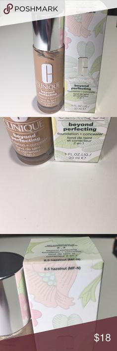 Clinique beyond perfecting foundation+concealer Clinique beyond perfecting foundation+concealer. Color is 8.5 hazelnut (m-n) brand new never used Clinique Makeup Foundation