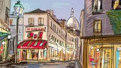 rua em paris - ilustração — Imagem Stock #9460340