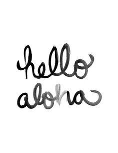 Hello Aloha Brush Lettering Print by studio404shop on Etsy
