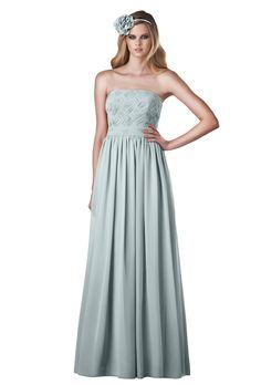 Brides.com: . Style 710, strapless blue chiffon A-line bridesmaid dress, $290, Bari Jay available at Weddington Way  See more Bari Jay bridesmaid dresses.