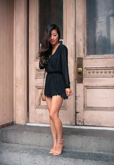 summer date night outfit // black lace romper (runs short, good for petite women!) + nude heels + gucci soho disco bag