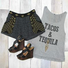 SHOP this Tacos and Tequila Tank Top in Grey for ONLY $17! FREE Shipping ALWAYS!