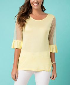 Yellow Illusion-Sleeve Scoop Neck Top #zulily #zulilyfinds