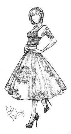 Art/Drawings/Sketches: Gala Darling by Rachel Nhan Fashion Illustration Sketches, Fashion Sketches, Drawing Sketches, Pencil Drawings, Drawing Style, Dress Sketches, Design Illustrations, Drawing Tips, Sketching