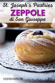 St. Josephs Day Pastries or Zeppole are delicious cream-filled Italian pastries from Southern Italy. Filled with delicious, delicate and velvety cream they are perfect for any holiday including Easter, Christmas and for no special occasion at all. Italian Pastries, Sweet Pastries, Italian Desserts, Italian Cookies, Sicilian Recipes, Pastry Recipes, Dessert Recipes, Sicilian Food, St Joseph Pastry