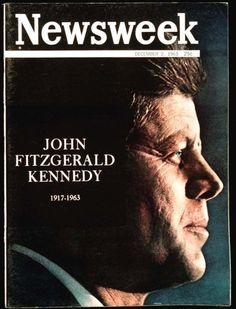 Portadas histórica en Pinterest. Ejemplo de Newsweek. JFK. December 2, 1963. (25 cents)