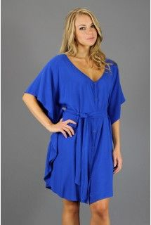 Jack by BB Dakota - Dublin Dress - Available at www.shop312.com for only $44.00 - This electric blue woven dress by Jack by BB Dakota has a full snap-front closure, flutter sleeves and a matching self-tie belt.