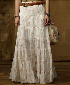 Denim & Supply Ralph Lauren Skirt, Floral-Print Tiered Maxi - Womens Skirts - Macy's