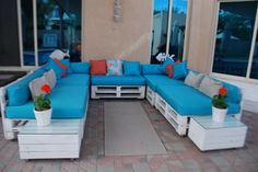 My friend does it again with old pallets re-painted with vibrant cushions added. Looks great Ness!
