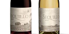 Sketched wine-label designs.