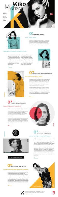 Kiko Mizuhara on Behance ( A simple,yet eye grabbing layout. A lot of cut off shapes, bold colors, and the cutting off of numbers. Gives the layout the simple look. Design Sites, Graphisches Design, Buch Design, Page Design, 2017 Design, Flat Design, Website Layout, Web Layout, Editorial Design