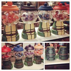 Ninja turtles hand painted centerpices terra pot candy jars