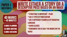 Aqa Gcse English Language, School Hacks, School Tips, School Stuff, Exam Revision, Figurative Language, Punctuation, Teaching, Writing