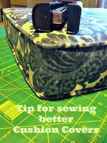 blue roof cabin: Tip For Sewing a Cushion Cover with Piping - staples not pins!  Clear how-to on click thru.