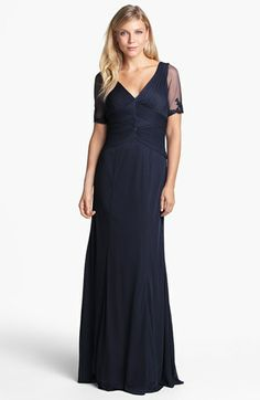 Mom of the bride dress.          Adrianna Papell Embellished Ruched Bodice Mesh Gown available at #Nordstrom