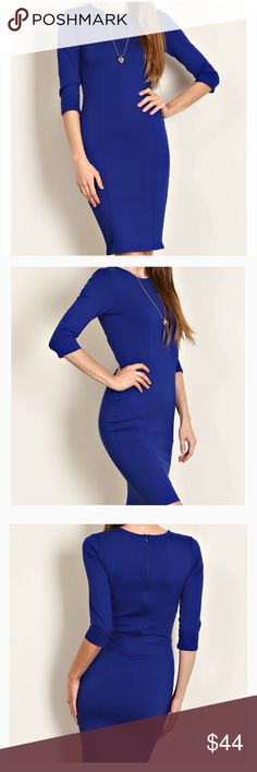 Scoop Neck Body Con Double Knit Dress Royal Blue 💙You will turn heads in this fabulous dress!💙Substantial double knit, not sheer, in 65% Rayon 30% Nylon 5% Spandex. Just enough stretch to show  off your gorgeous curves! S 4-6 Bust 31-33 Waist 25.5-27.5 M is US 8-10 Bust 36-38 Waist 28-30 L is US 12-14 Bust 38-40 Waist 30-32 Additional measurements on request. Dresses