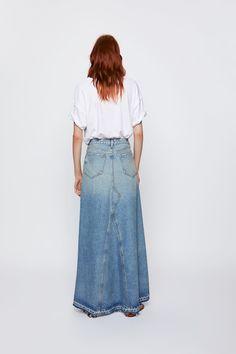 Chiffon Skirt, Dress Skirt, Beautiful Long Dresses, Beautiful Ladies, Collection Zara, Inspiration Mode, Denim Skirts, Maxi Skirts, Denim Outfit