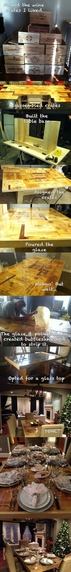 My wine crate table - with the help of Teddy Lett (Let's Fix it Workshops in Houston, TX)