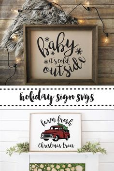 Get the SVG to make these fabulous holiday signs on Everyday Party Magazine. #Holiday #HolidaySVG #FarmhouseDecor