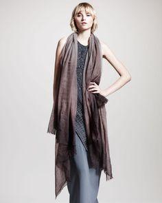 Brunello Cucinelli Boiled-Cashmere Ombre Scarf #fashion #style
