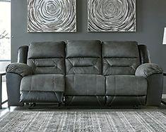 Earhart Manual Reclining Sofa | Ashley Furniture HomeStore Ashley Furniture Sofas, Furniture Sale, Living Room Furniture, Black Sofa, Gray Sofa, Nebraska Furniture Mart, Reclining Sofa, Signature Design, Living Room Sets