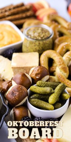 Oktoberfest Charcuterie Board, fall cheese board idea, football recipes for entertaining, pretzels and cheese, beer inspired recipe, how to celebrate oktoberfest Yummy Appetizers, Appetizer Recipes, Fall Recipes, Holiday Recipes, Good Food, Yummy Food, Side Dishes Easy, Charcuterie Board, Party Snacks