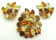 EISENBERG Set Brooch Pin Earrings Crystal Rhinestones Lovely Fall Colors!