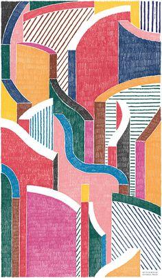 Mode et design : Panneau décoratif, dessin de Nigel Peak (Hermès)