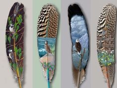 - This collection of feather paintings by Julie Thompson show the intricate detailing required to pull off these amazing images. Feather Painting, Feather Art, Bird Feathers, Painted Feathers, Parrot Feather, Feather Drawing, Feather Crafts, Feather Jewelry, Colorful Feathers