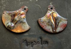iridescent metallic crackle drip enamel with glass lampwork jewelry supplies 2pc 4ophelia