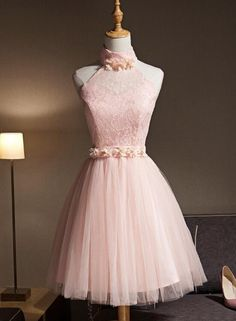 Unique Prom Dresses, Light Pink Halter Tulle And Lace Lovely Knee Length Formal Dress, Cute Party Dress, Pink Prom Dresses, There are long prom gowns and knee-length 2020 prom dresses in this collection that create an elegant and glamorous look Pink Formal Dresses, Dama Dresses, Cute Dresses For Party, Quince Dresses, Party Dress, Short Dresses, Light Pink Dresses, 1950s Dresses, Homecoming Dresses