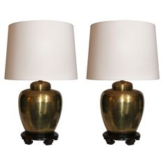 A Pair of Asian Modern hammered brass Table Lamps | From a unique collection of antique and modern table lamps at https://www.1stdibs.com/furniture/lighting/table-lamps/