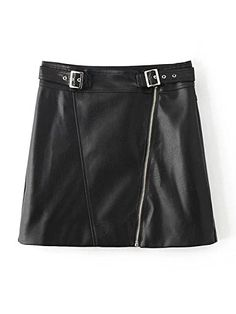 Joeoy Womens Black Asymmetrical Zip Belted Faux Leather Mini SkirtL >>> Read more reviews of the product by visiting the link on the image.