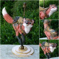 Handmade polymer clay one of a kind Steampunk Carousel Fox by Mystic Reflections.