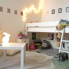 white loft bed, kids room