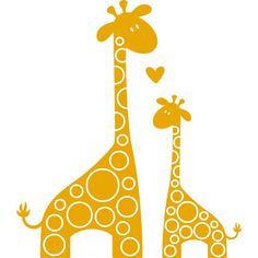 Vinyl decal i love you giraffe mom and baby tay877