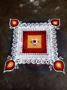 Simple Rangoli Simple Rangoli Border Designs, Easy Rangoli Designs Diwali, Indian Rangoli Designs, Rangoli Designs Latest, Rangoli Designs Flower, Free Hand Rangoli Design, Small Rangoli Design, Rangoli Ideas, Rangoli Designs With Dots