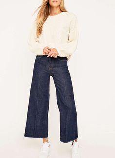 Ali Cropped Raw Hem A-Line Jeans