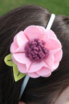 fleurs en feutrine, diadème feutrine avec fleur rose