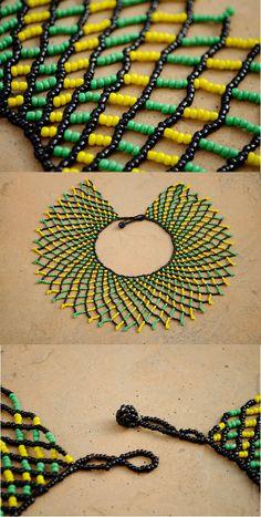 Beaded Collar NecklaceGreen Orange Blue and Yellow African Native Beading Patterns, Beaded Necklace Patterns, Beaded Collar, Beaded Choker, African Jewelry, Beading Tutorials, Bead Weaving, Handmade Necklaces, Zulu
