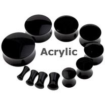 Pair of Black Acrylic Flesh Saddle Ear Plugs - Light weight - High Quality Acrylic - ea511 - Choose your size from: 6G (4mm), 4G (5mm), 2G (6mm), 0G (8mm),00G (9mm), 1/2 (12.7mm), 9/16 (14mm), 11/16 (18mm) and 7/8 (22mm) - ea511