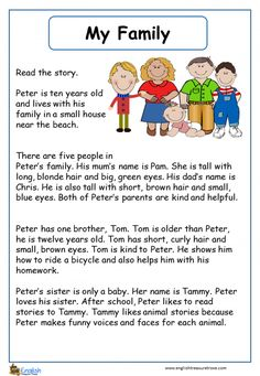 My Family English Vocabulary Worksheet – English Treasure Trove English Stories For Kids, English Grammar For Kids, English Worksheets For Kids, English Lessons For Kids, English Reading, English Writing Skills, Learn English Words, English Story, English Conversation For Kids