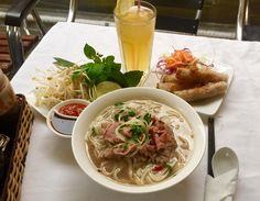 """It's pronounced as """"fuh.""""  Eat Pho like a pro with your own choice of condiments to suit your taste. Below photo: Best Wagyu Beef Noodle + Crispy Spring Rolls"""
