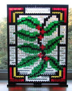 Christmas Holly Berry Mosaic Kit - Lego by TheMerryBeader on Etsy