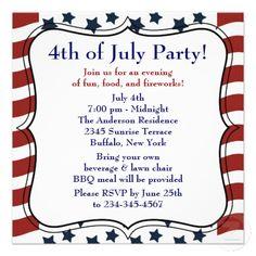 Stars Stripes 4th of July BBQ Party Invitation